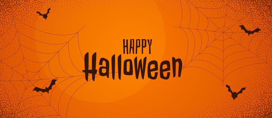 läskigt halloween orange banner med spindelväv och flygfladder