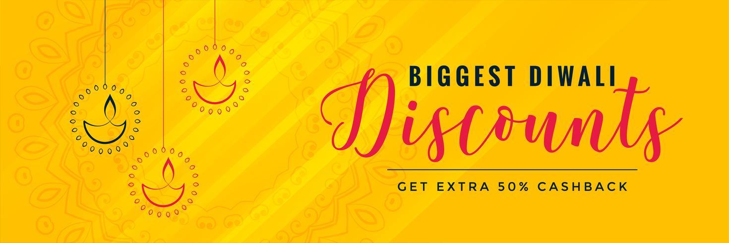 Diwali rabatt gul banner design