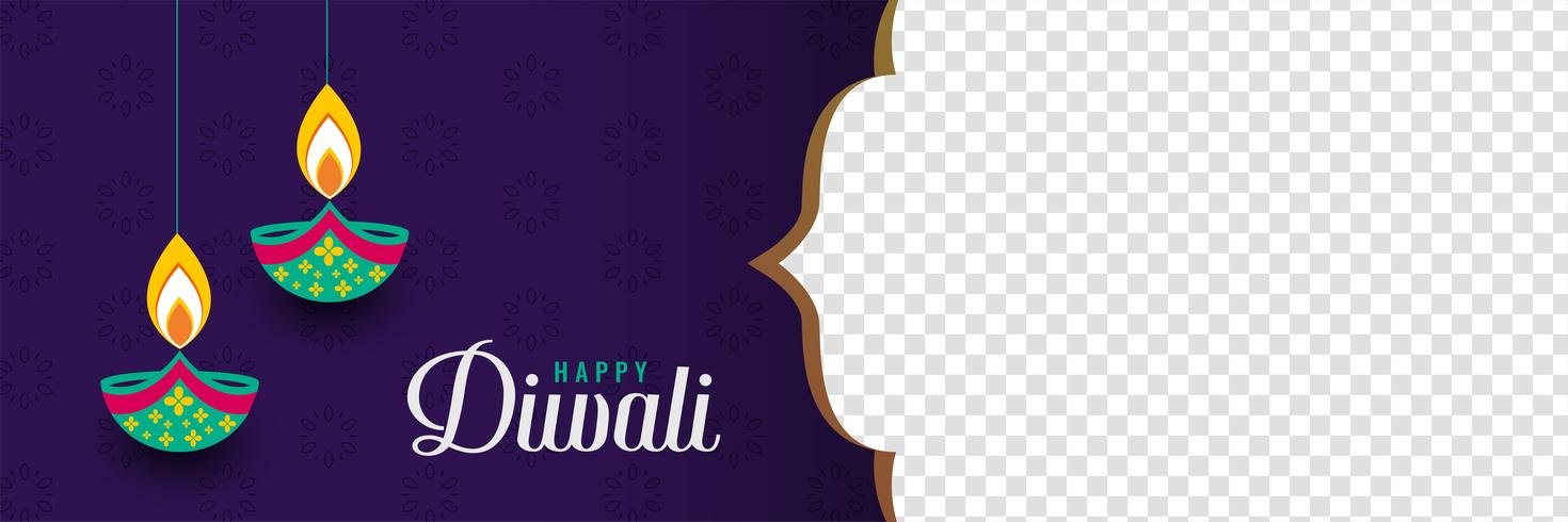 glad diwali festival banner med bild utrymme