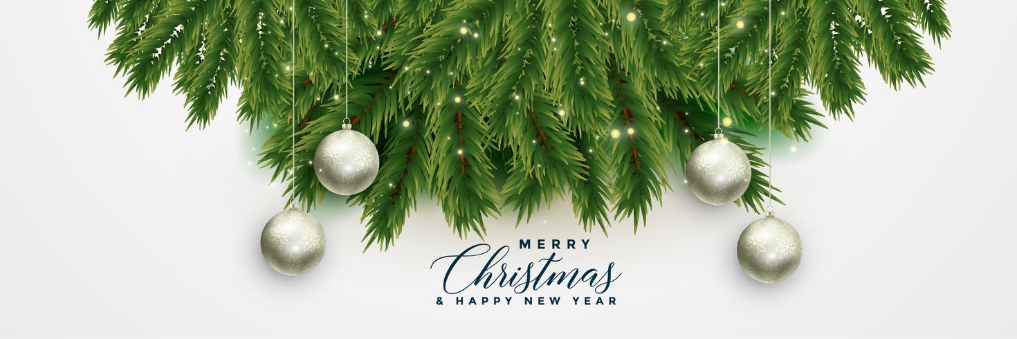 julgran lämnar banner med julkulor