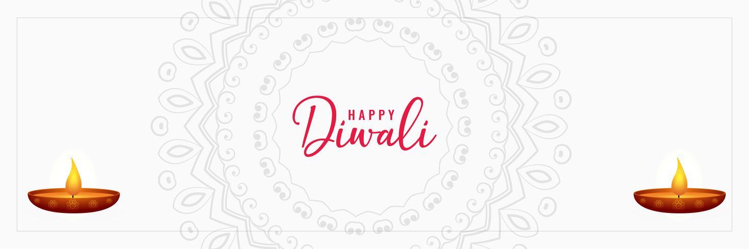 elegant gelukkig ontwerp van de diwali wit banner