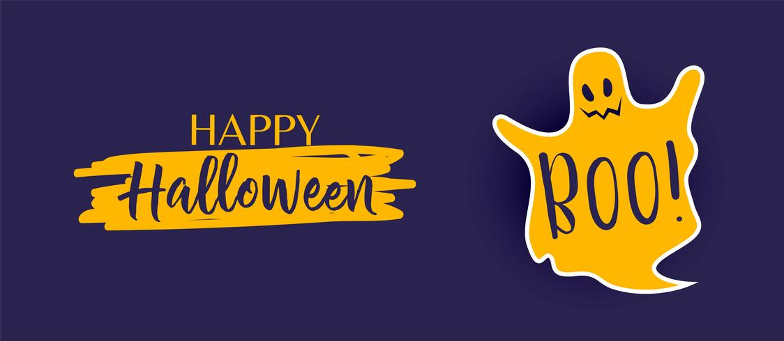 banner de halloween feliz com fantasma bonitinho