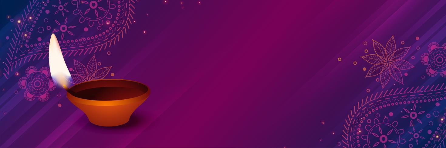 diwali diya di buon auspicio su priorità bassa decorativa viola