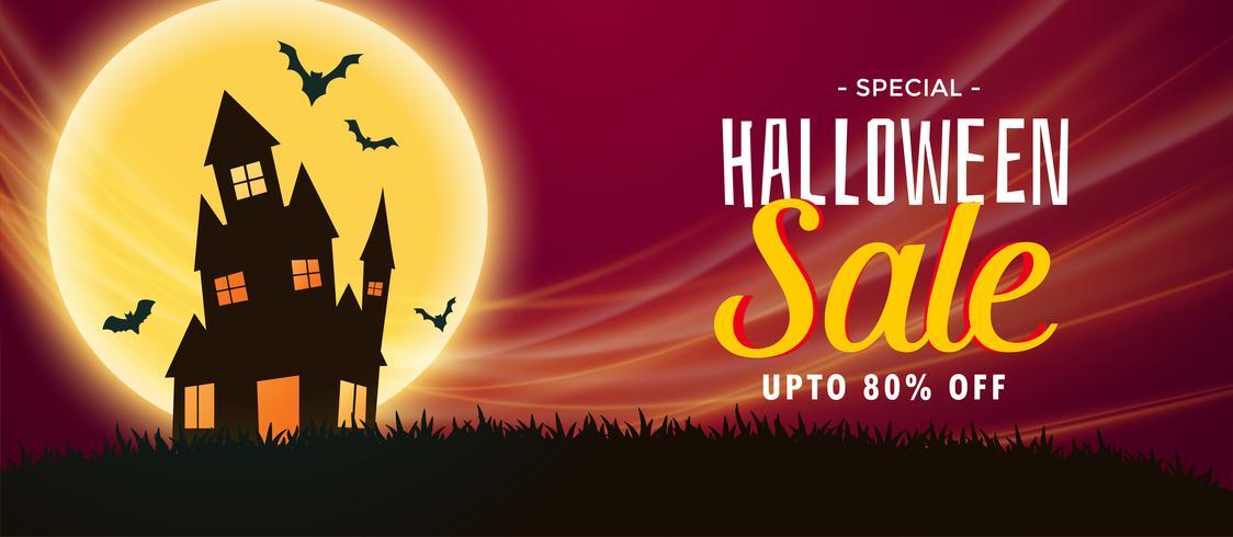 bannière de vente halloween effrayant avec maison hantée et chauves-souris volantes
