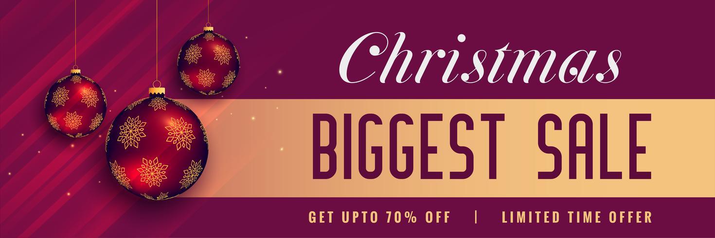 Banner de venta de Navidad hermosa con bolas brillantes decoración