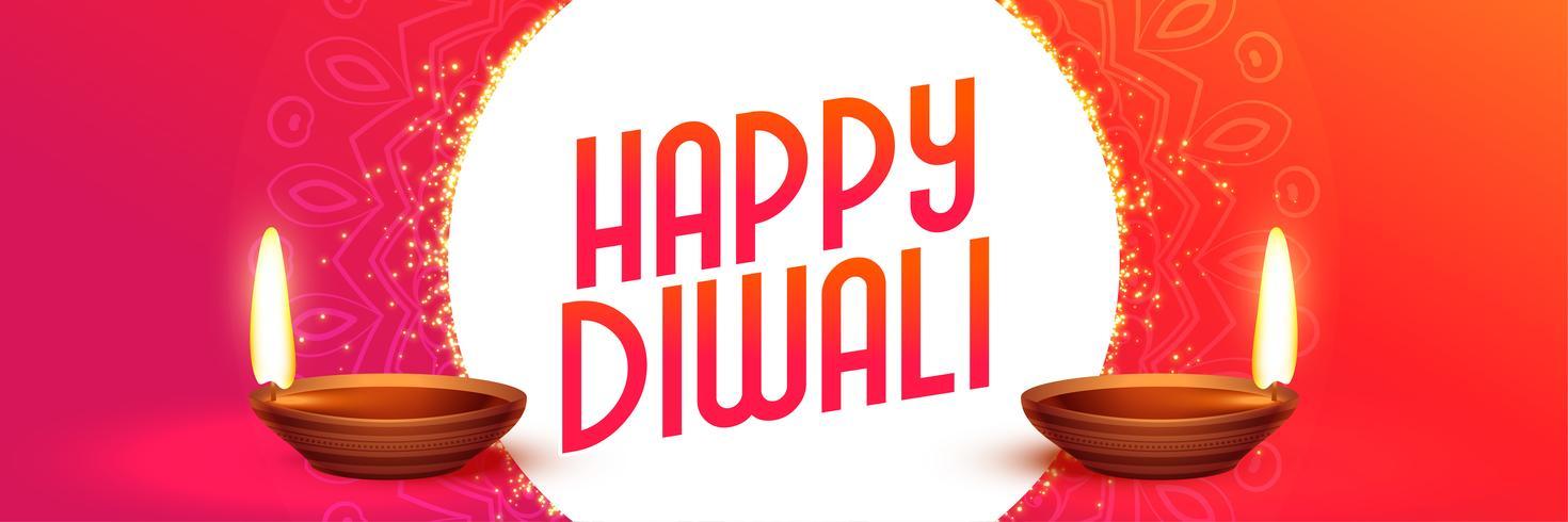 diseño de banner de vibrante feliz diwali