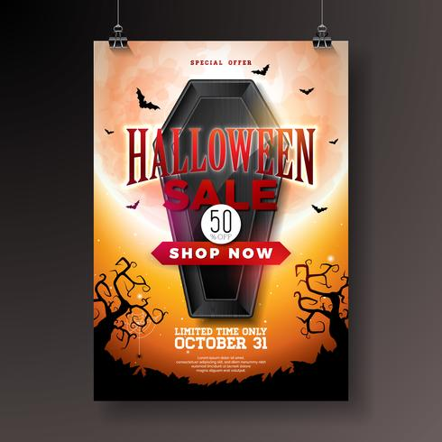 Halloween Försäljning illustration med svart kista, fladdermöss och kyrkogård på orange mystisk måne bakgrund.
