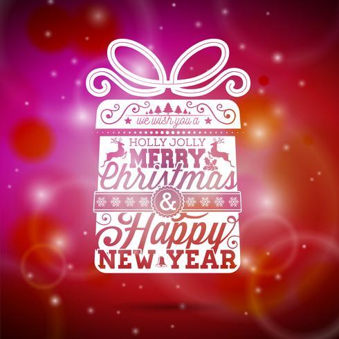 Vector el ejemplo de la Feliz Navidad con diseño tipográfico en fondo rojo brillante