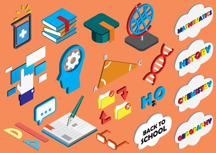 illustratie van info grafische onderwijs pictogrammen instellen concept