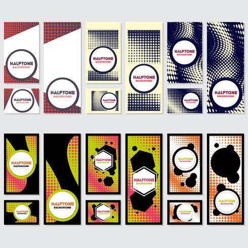 Fondo de estilo de semitono vintage plantilla de diseño vector