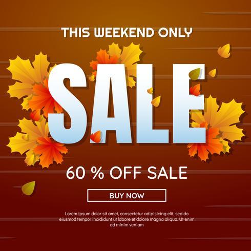 Outono venda modelo banner vector fundo