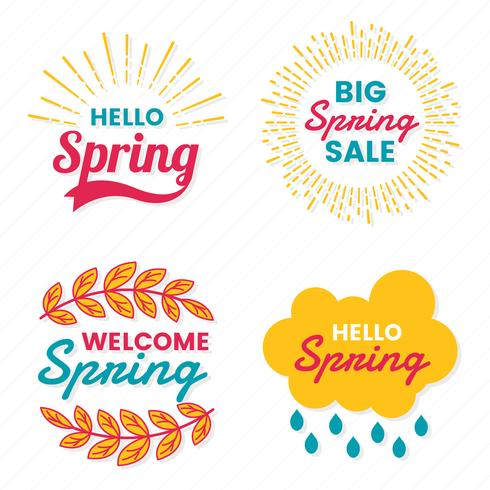 Primavera Retro Vintage Vector Label