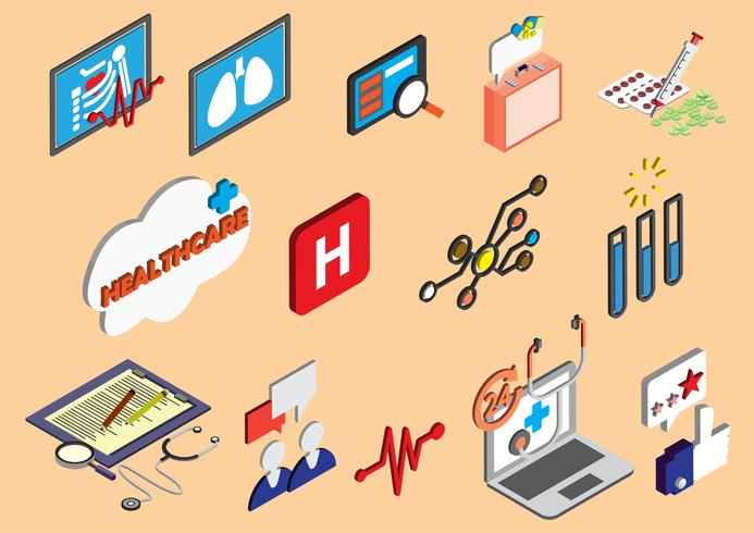 illustration av info grafisk sjukhus ikoner uppsättning koncept vektor