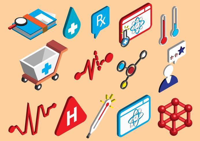 Ilustración de conjunto de iconos de información gráfica hospital concepto vector