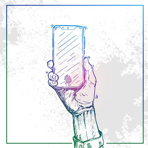 Illustration of Hand holding a phone and switch the phone