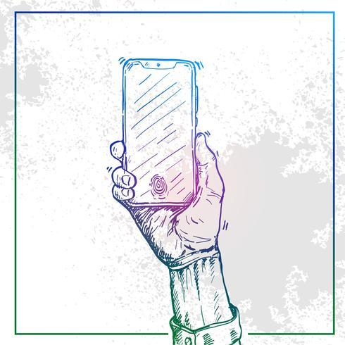 Illustration d'une main tenant un téléphone et allumer le téléphone