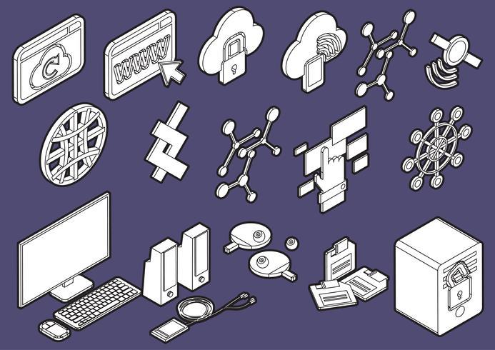 ilustração do conceito de conjunto de ícones gráficos de computador de informação vetor