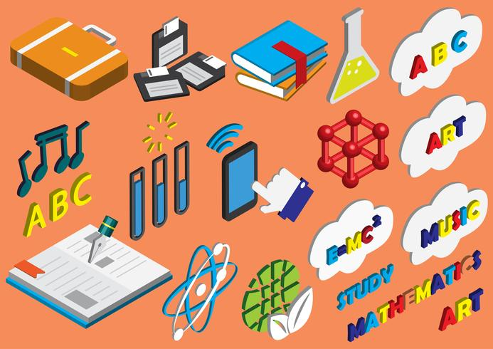 illustration of info graphic education icons set concept vector