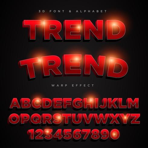 Letras, letras y letras del alfabeto estilizado rojo 3D