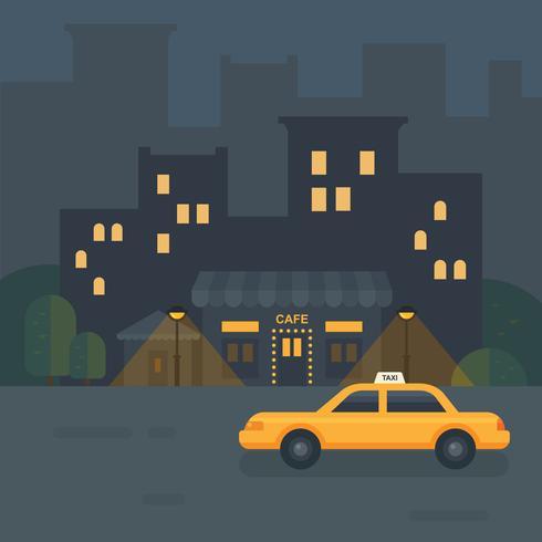 Flache Illustration des Nachtstadtcafés. Taxi Auto in der Nähe eines Restaurants