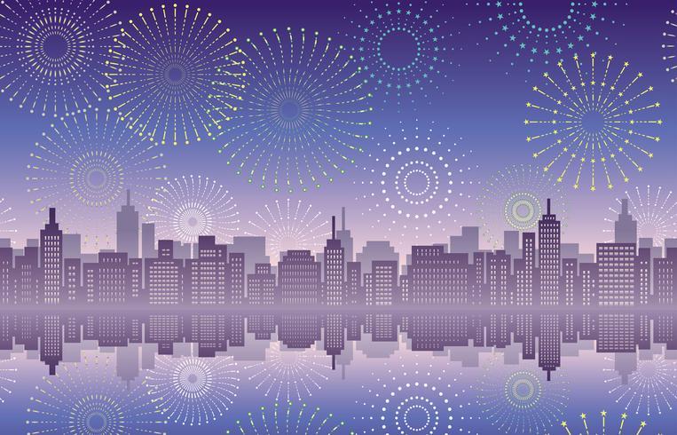 Paesaggio urbano senza soluzione di continuità con fuochi d'artificio celebrazione.