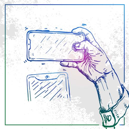 Illustration of Hand holding a phone and take selfie