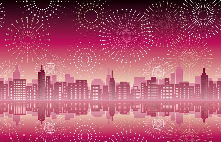Sömlös stadsbild med firande fyrverkerier.