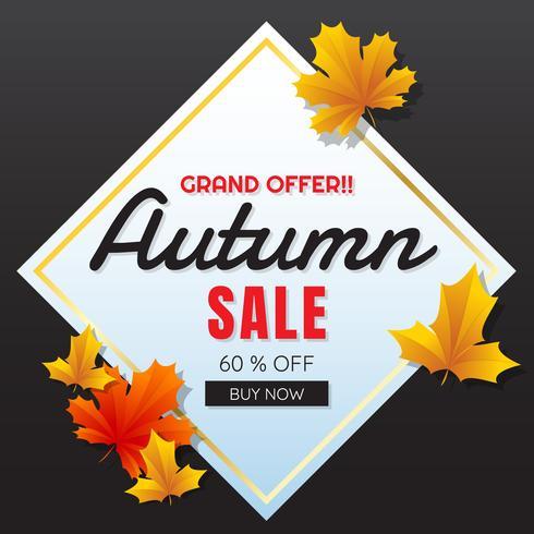 otoño venta plantilla banner vector de fondo