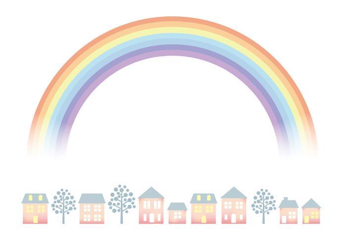 Townscape cor pastel com o arco-íris.