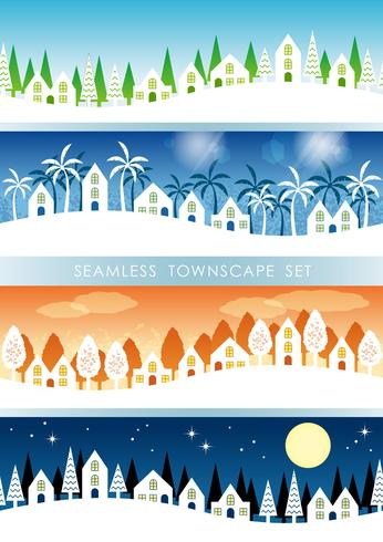 Set of four seamless townscapes.