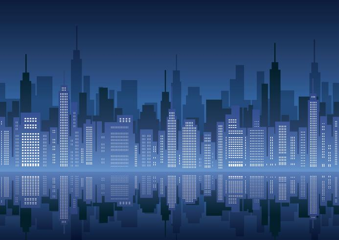 Seamless cityscape with skyscrapers. vector