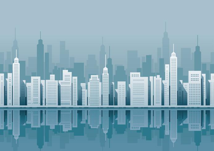 Paysage urbain sans faille avec des gratte-ciels.