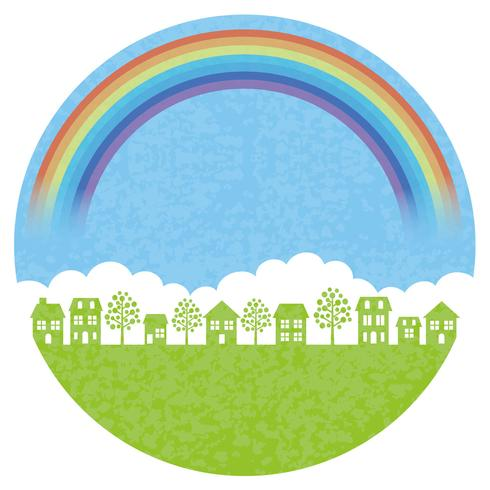 Round townscape background with the rainbow.