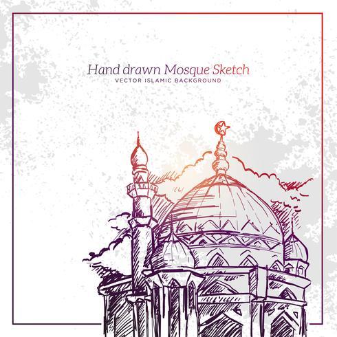 Hand getrokken moskee schets illustratie.