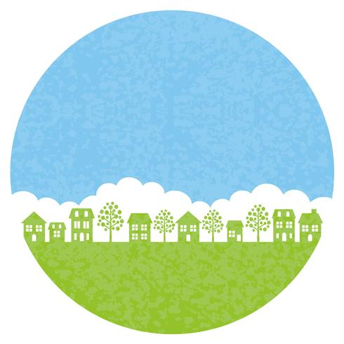 Round townscape background, vector illustration.