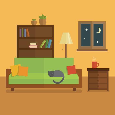 Flache Innenillustration des gemütlichen Raumes. Bücherregal mit Büchern und Pflanzen, Katze, die auf dem Tisch auf einem grünen Sofa, Tasse Tee schläft