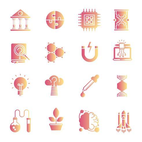 Wetenschap gradiënt pictogrammen instellen