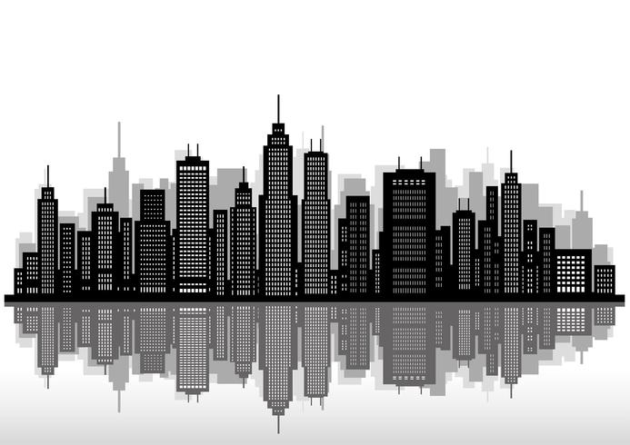 Stadtbild mit Wolkenkratzern, Vektorillustration.