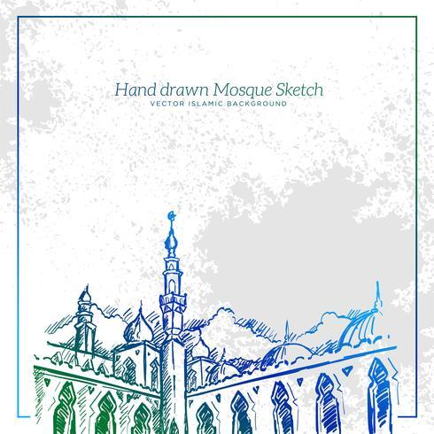 Hand getrokken moskee schets illustratie. Vector Islamitische Grunge achtergrond