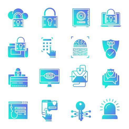 Conjunto de ícones de gradiente de segurança