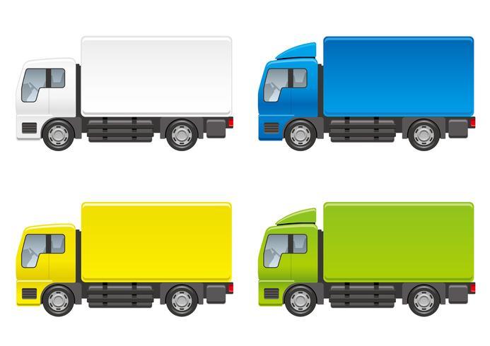 Conjunto de cuatro camiones aislados en un fondo blanco.