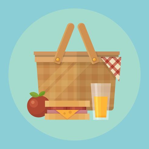 Illustrazione piana del canestro e dell'alimento di picnic. Mela, coperta, sandwich e un bicchiere di succo