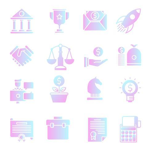 Conjunto de iconos de negocio gradiente