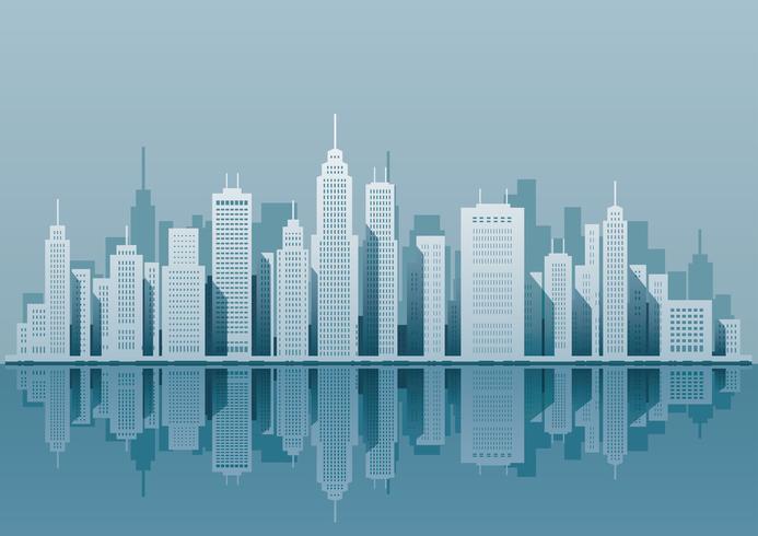Paysage urbain avec des gratte-ciels, illustration vectorielle.