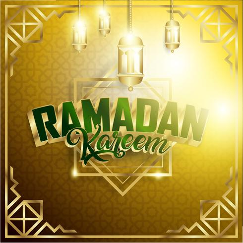 Or Ramadan Kareem Fond 1440 Hijr avec Ramadan Kareem 3d lettrage texte vecteur