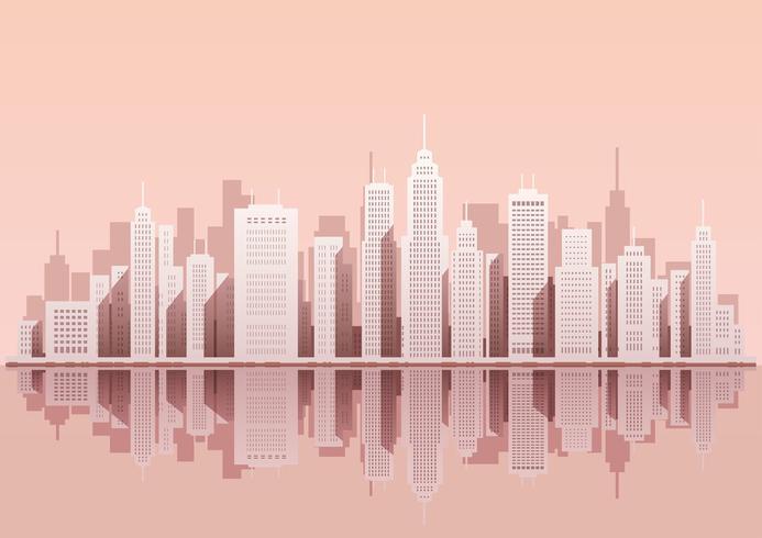 Paisaje urbano con rascacielos, ilustración vectorial.
