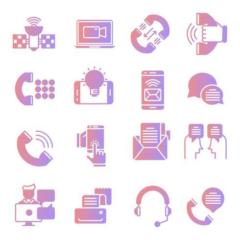 Jeu d'icônes de dégradé de communication