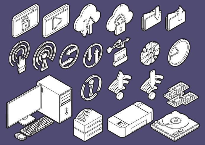 Ilustración de la información gráfica iconos de computadora establece el concepto vector