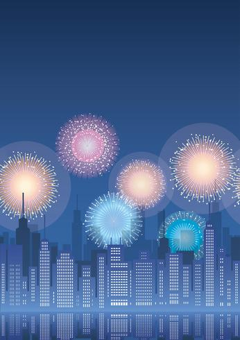 Seamless cityscape with skyscrapers and fireworks