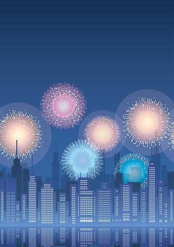 Nahtloses Stadtbild mit Wolkenkratzern und Feuerwerk